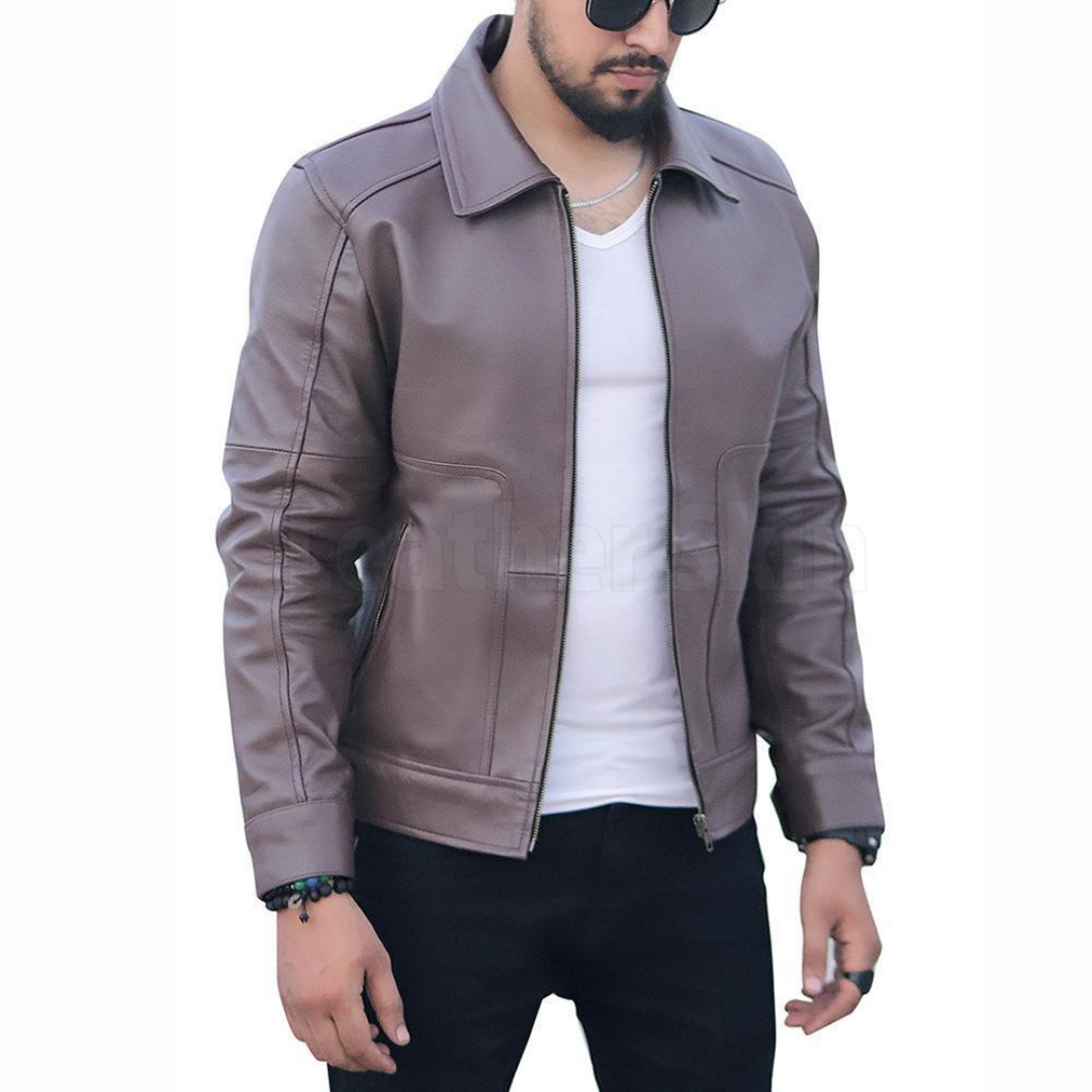 Exquisite Cedar Men S Leather Jacket With A Shirt Collar Leather Blazer Women Leather Jacket Best Leather Jackets [ 1080 x 1080 Pixel ]