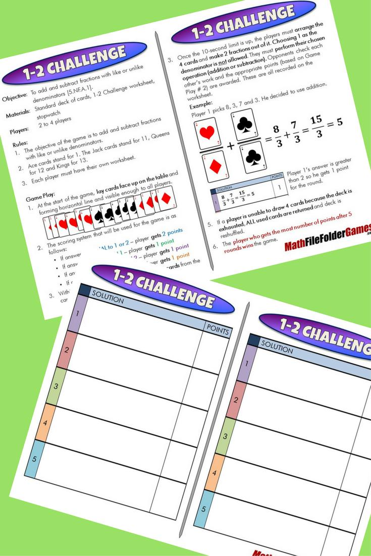 5th Grade File Folder Math Games Math Games Math Fractions Math [ 1102 x 735 Pixel ]