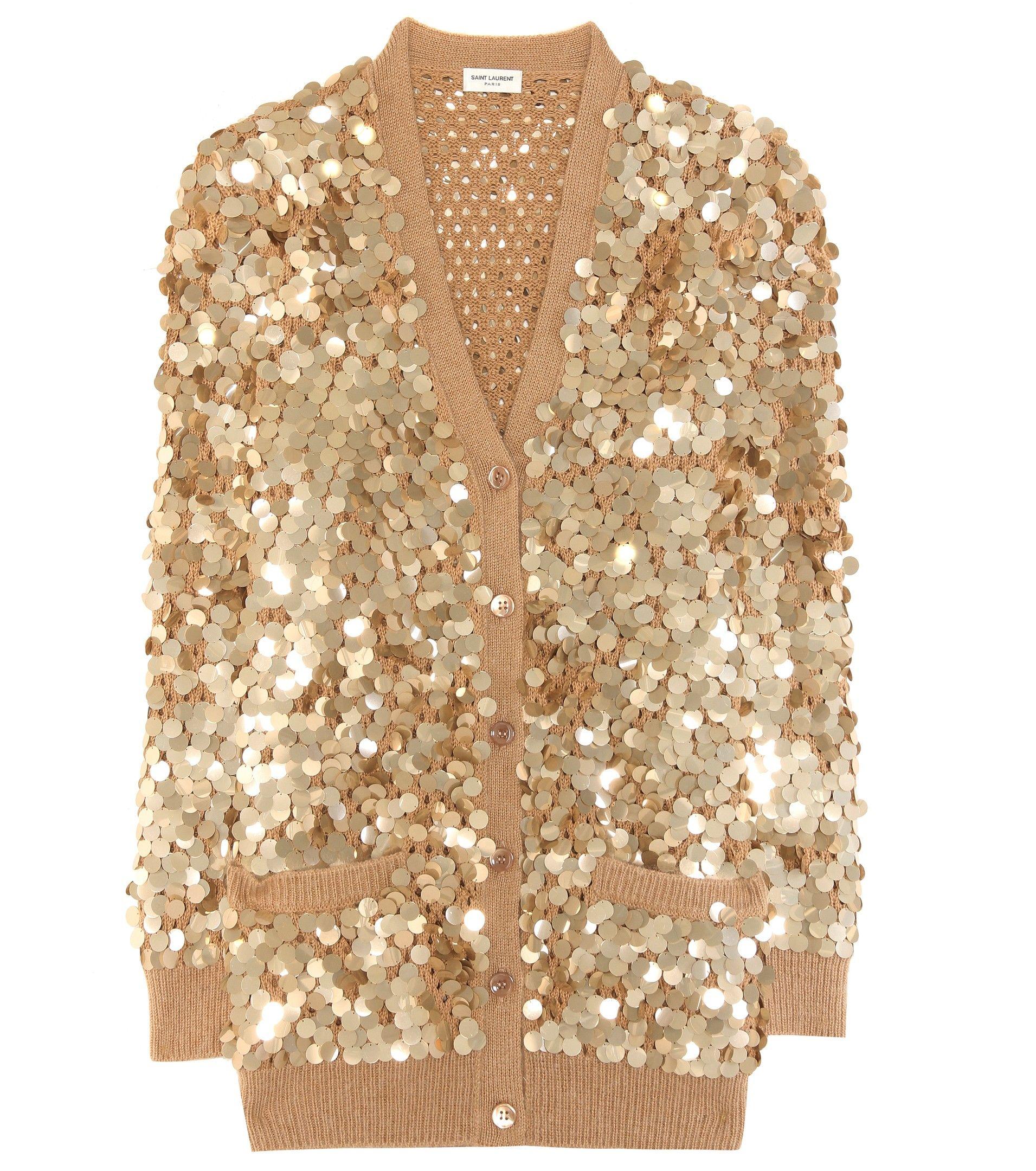 SAINT LAURENT Sequin-embellished cotton cardigan | Fashion Lust ...