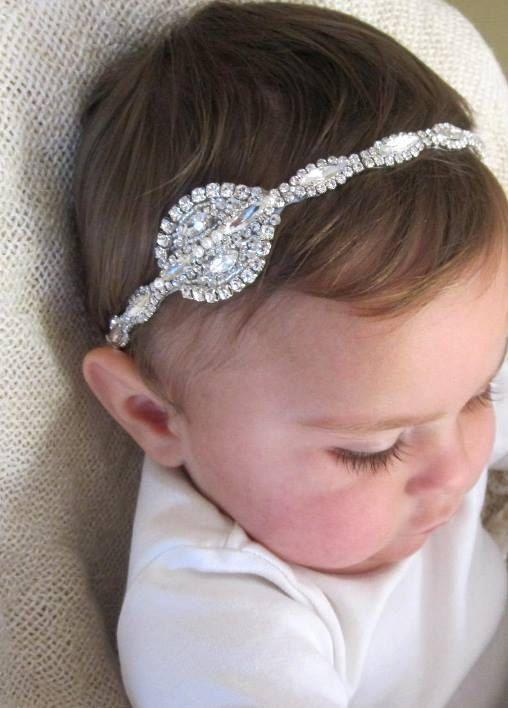 Flower Girl Headband Baby Headband Rhinestone Headband Baby Girl Headband Baby Girl Headband Bridal Headband Newborn Headband