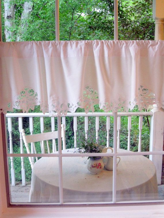 Vintage Curtain Battenburg Lace Valance Window by mailordervintage