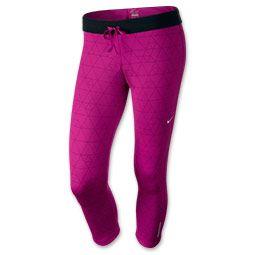 Women's Nike Relay Print Crop Running Tights| FinishLine.com | Bright Magenta/Black/Matte Silver