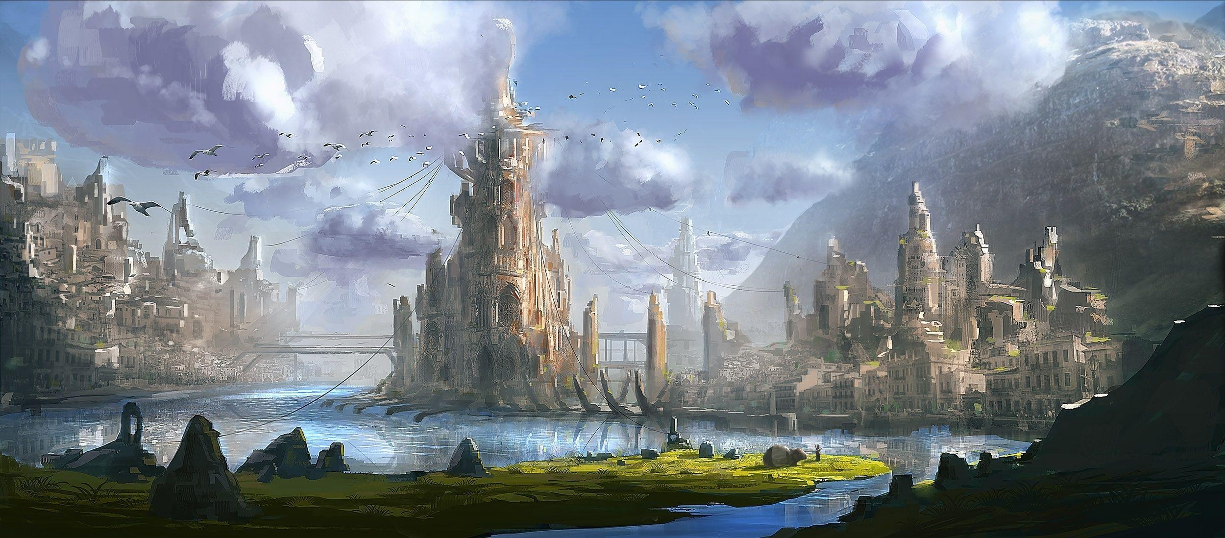 Fantasy City Fantasy city, Fantasy landscape, Fantasy castle