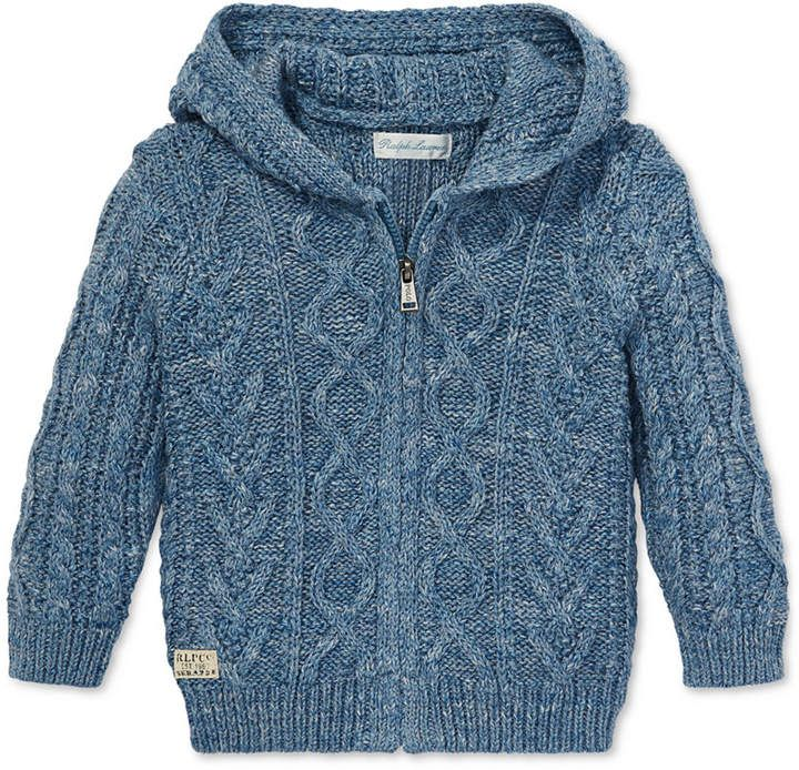 Polo Ralph Lauren Baby Boys Cable Knit Cardigan Heather Grey 24 MOS