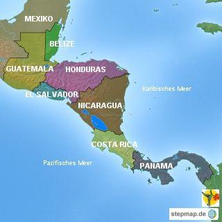 Ubersicht Karte Mittelamerika Verlinkung Auf Reisen