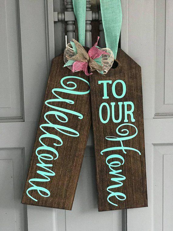 Large Wood Door Tags -Door Hanger - Welcome To Our Home