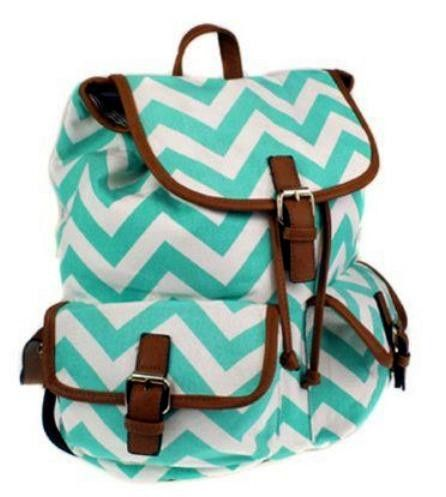 white and green geometric buckle multi pocket academic cute ...