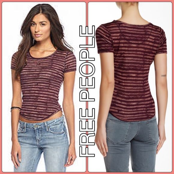 ✨ NEW tags FREE PEOPLE top ribbed stripe tee shirt Cute little versatile top in a lightweight rib material and deep maroon color. By Intimately Free People size M Brand new with tags! Free People Tops Tees - Short Sleeve