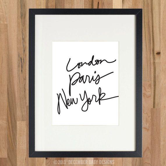 London Paris New York Print By Decemberbabydesigns On Etsy