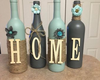 home wine bottle decor, home decor, wine bottles, shabby chic