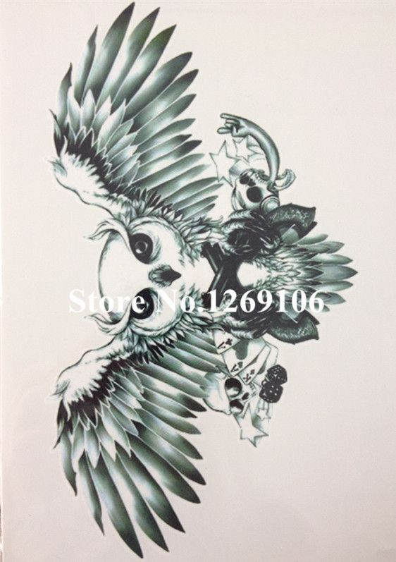 Visit to buy hot sale owl and skull 21 x 15 cm sized sexy cool beauty tattoo waterproof hot temporary tattoo stickers