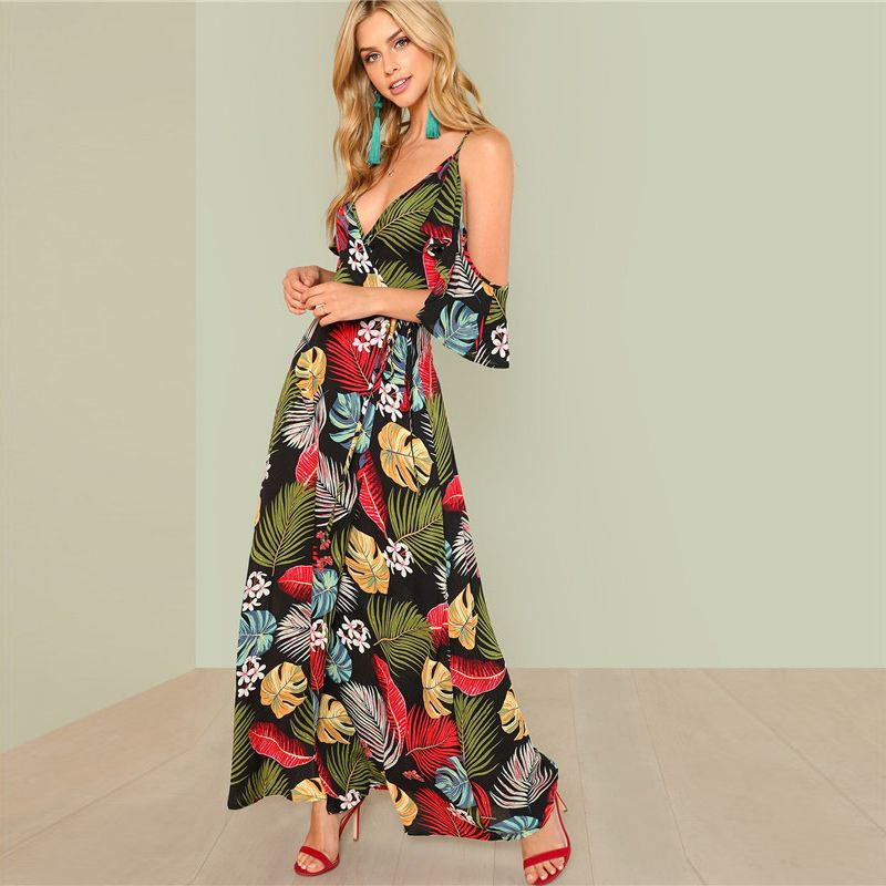 167963a279 Summer Boho Floral Print Sexy Deep V Neck Open Shoulder Maxi Women Beach  Vacation High Waist Surplice Wrap Dresses