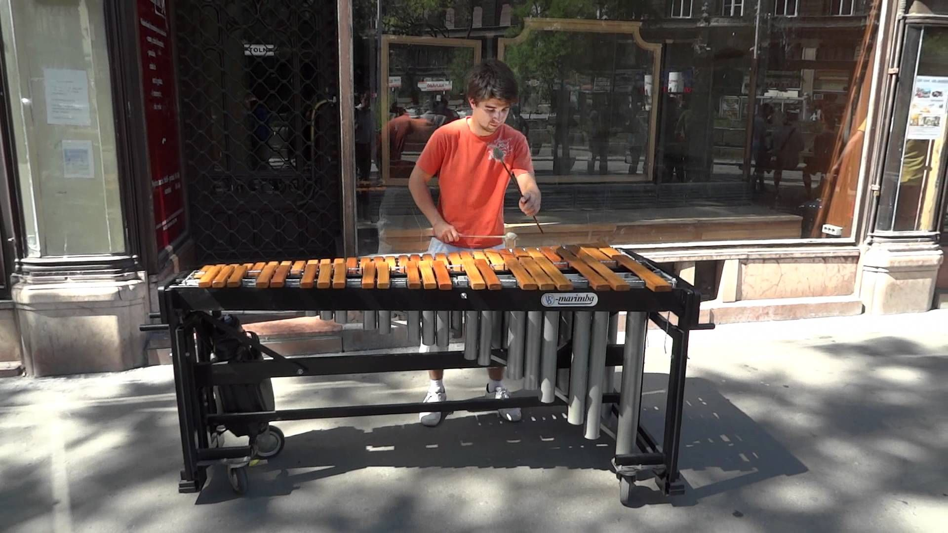 Street musician playing classical music on xylophone [Budapest] HQ 1080p