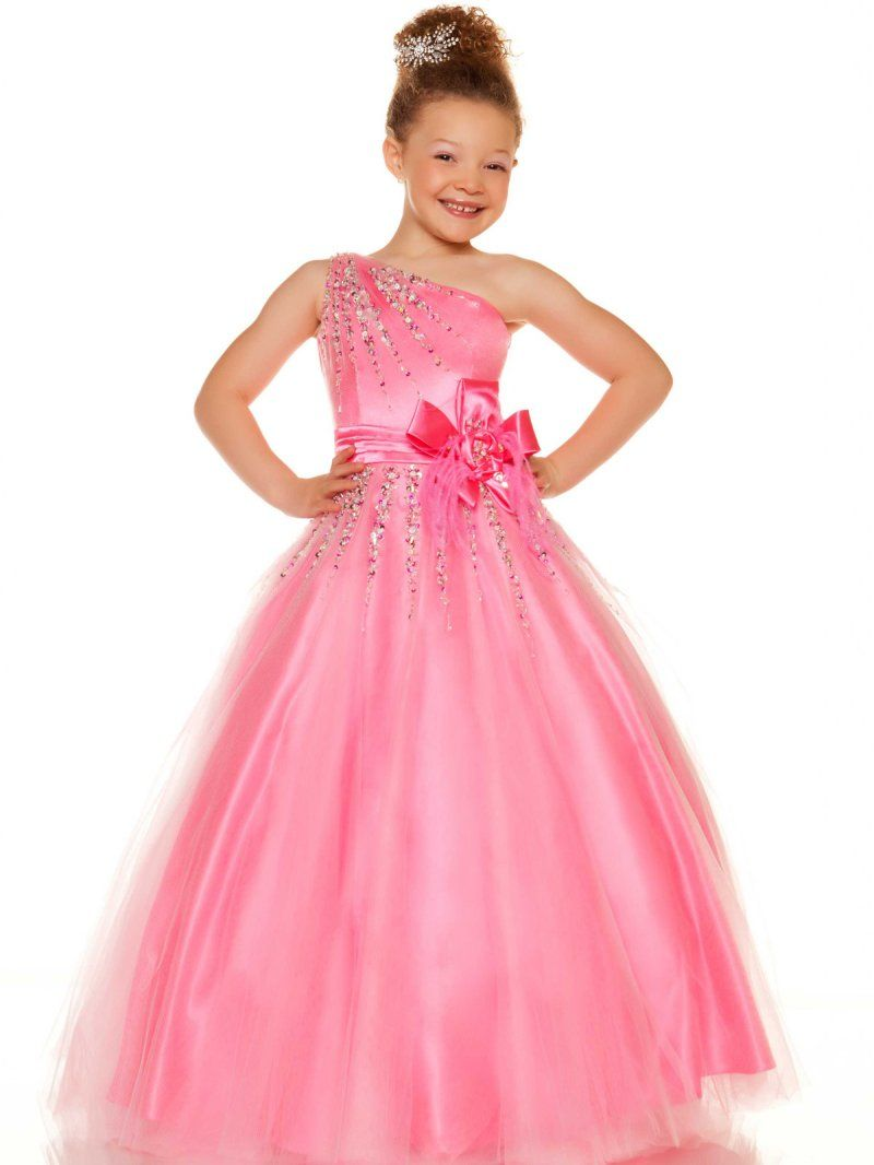 Pink A Line One Shoulder Floor Length Tulle Girls Pageant Dress With ...