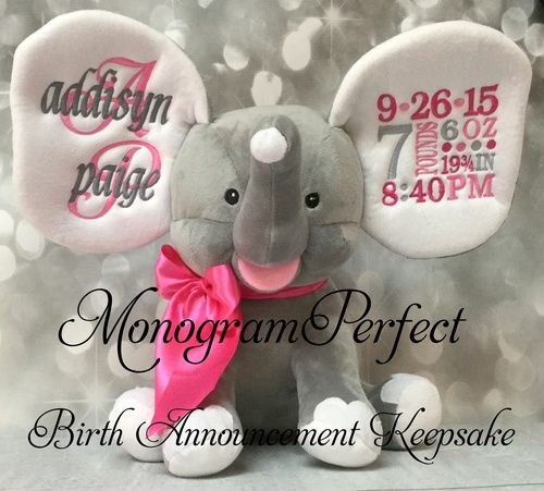 NEW EXCLUSIVE GRAY BIRTH ANNOUNCEMENT STUFFED ELEPHANT