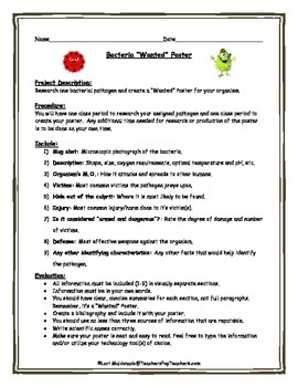 Cells: Bacteria 'Wanted' Poster Project | Open Board: TPT