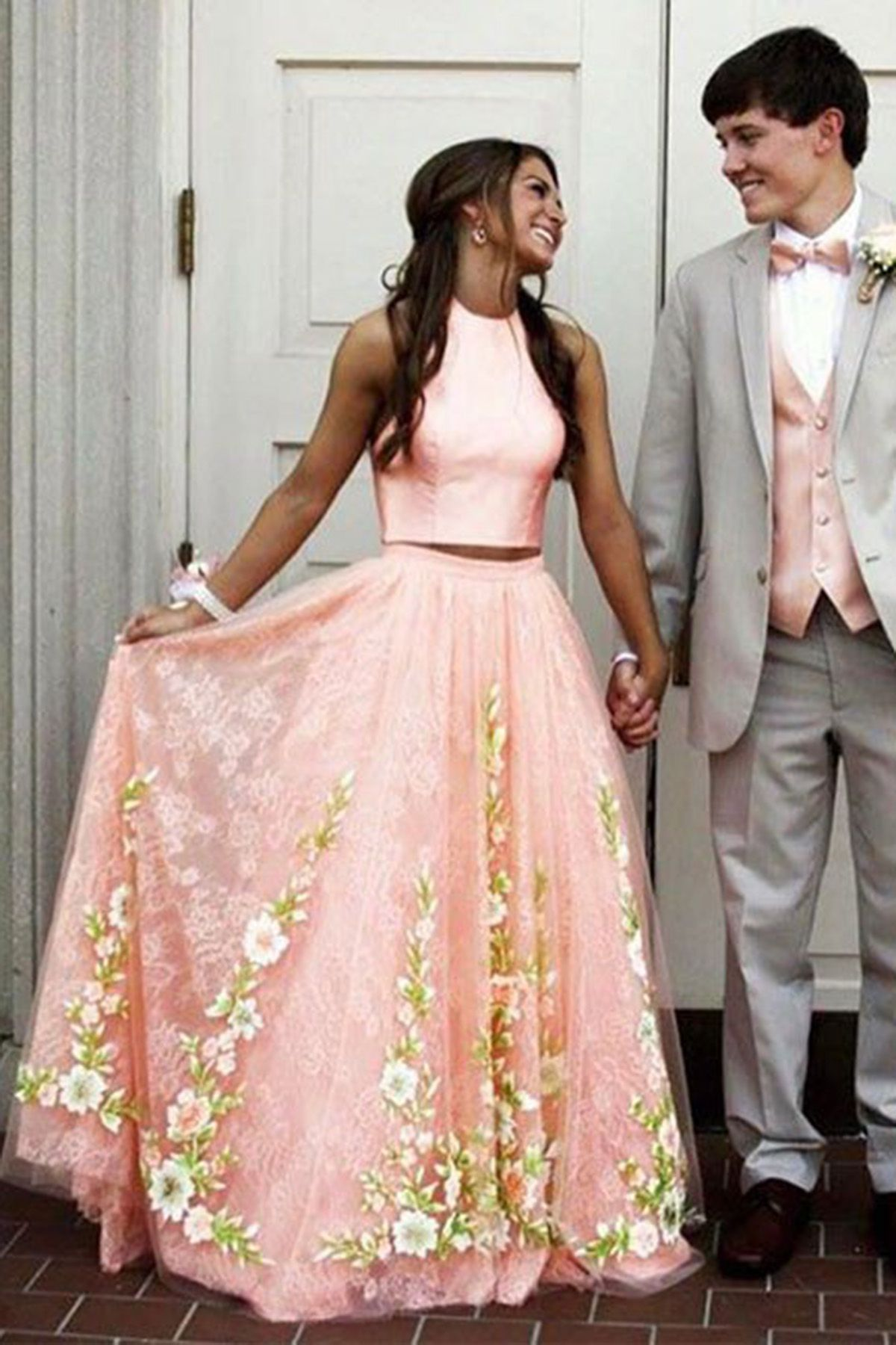 Pink lace appliques two pieces long prom dress for teens aline