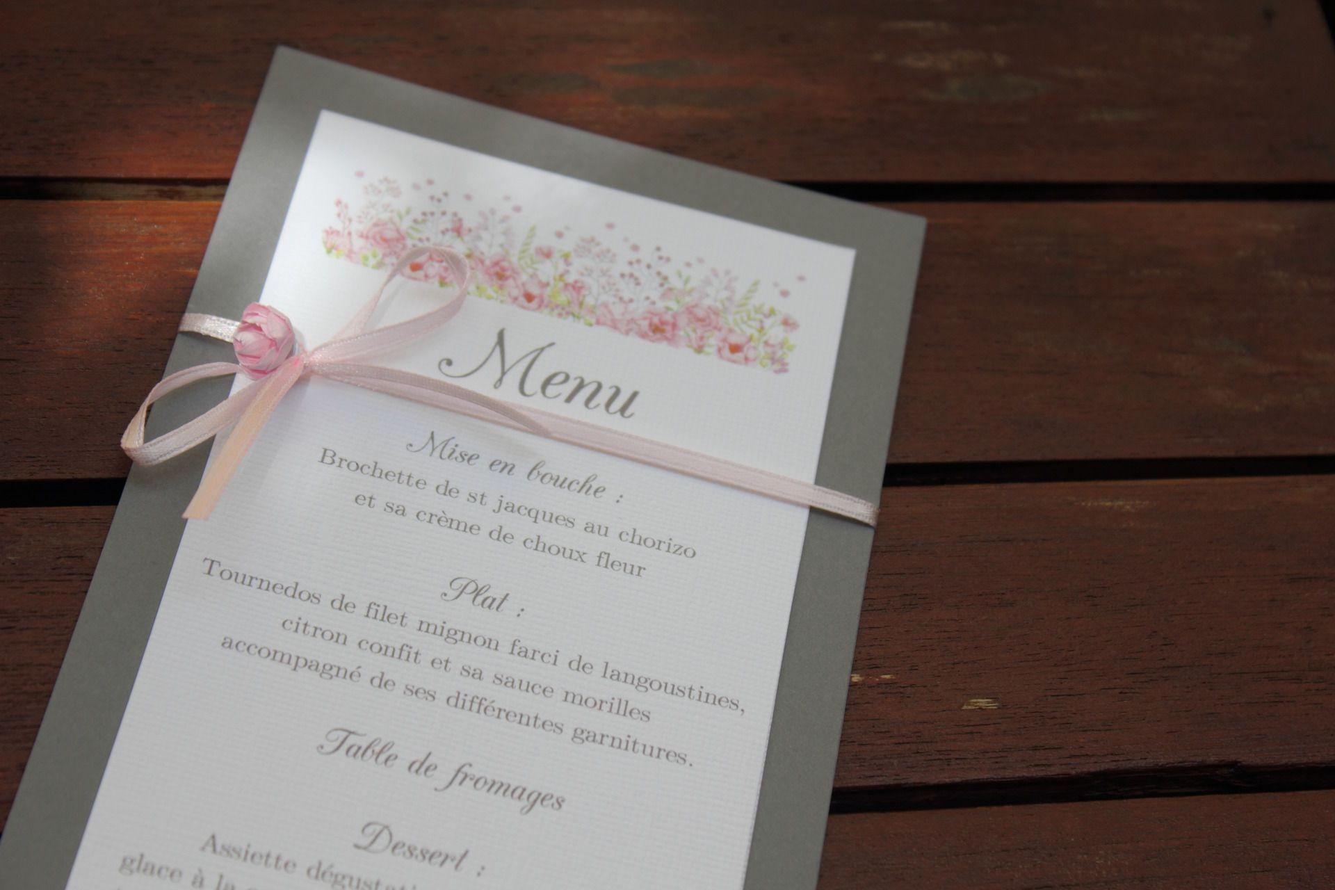 Menu gamme mariage gris blanc et rose poudré Faire part par la