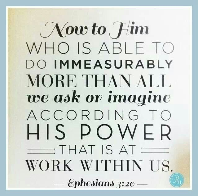 "Ephesians 3:20 ""Now Unto Him That Is Able To Do Exceeding"