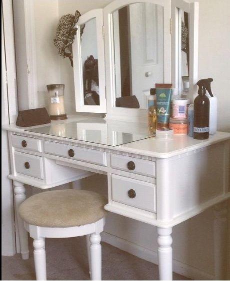 Bedroom Vanity Set Antique Makeup Table Stool Drawers Folding Mirror - Bedroom Vanity Table