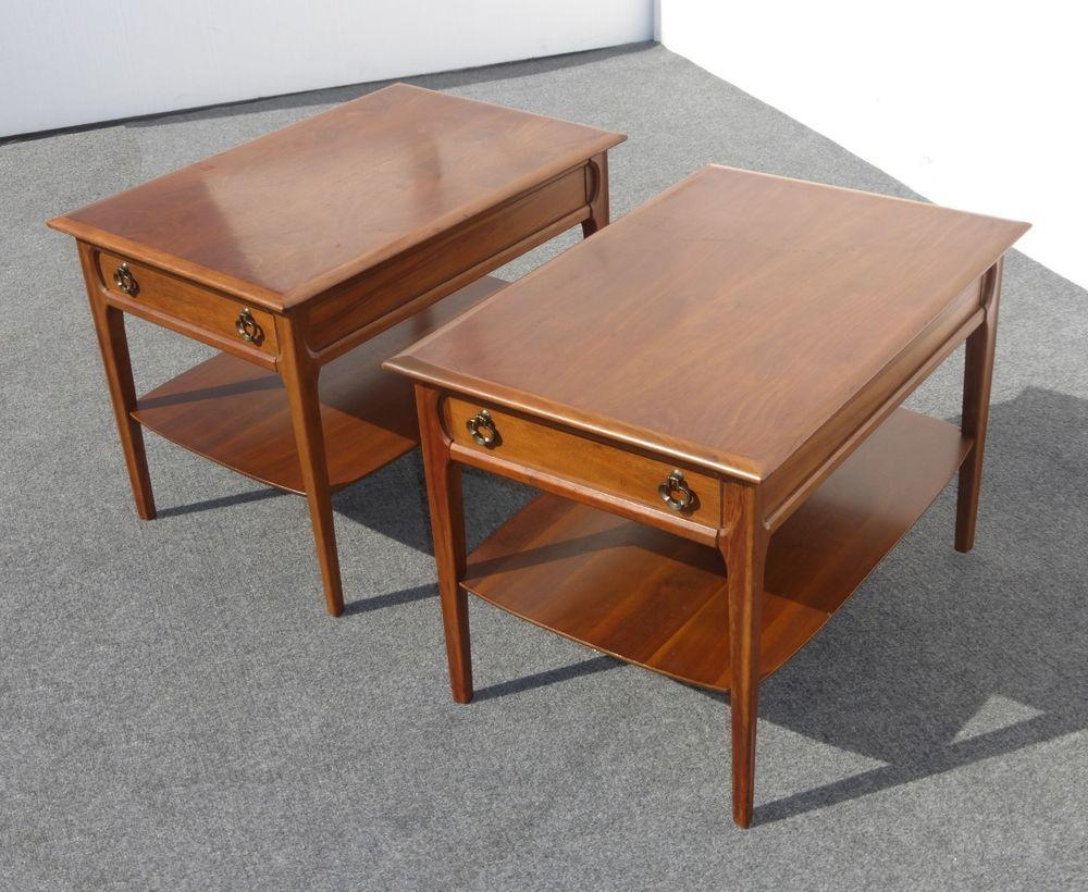 Pair Vintage MERSMAN Danish Modern END TABLES Two Tier Single Drawer