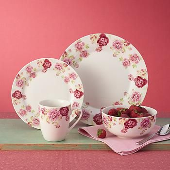 Service for 4 \ Blossoming Rose\  Porcelain Dinnerware by Kathy Ireland - #GOCBLR & 16-pc. Service for 4 \