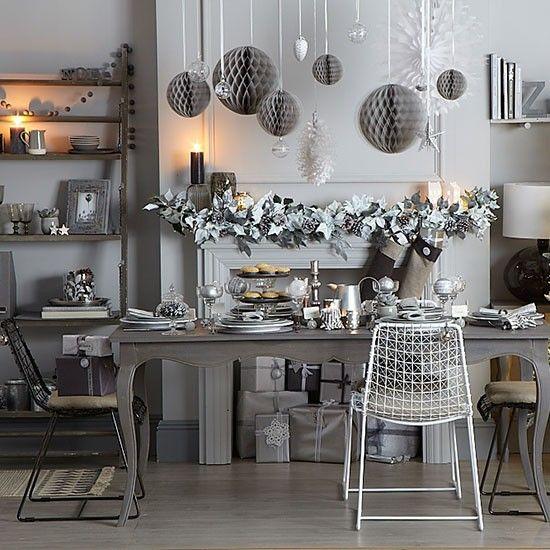Esszimmer Wohnideen Möbel Dekoration Decoration Living Idea Interiors Home  Dining Room Silber Und Grau Weihnachten