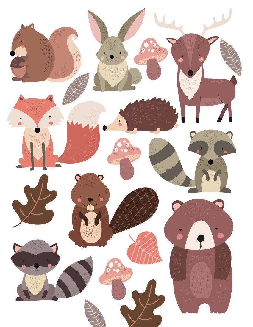 Watercolour Forest Animals Nursery Wall Stickers Watercolour