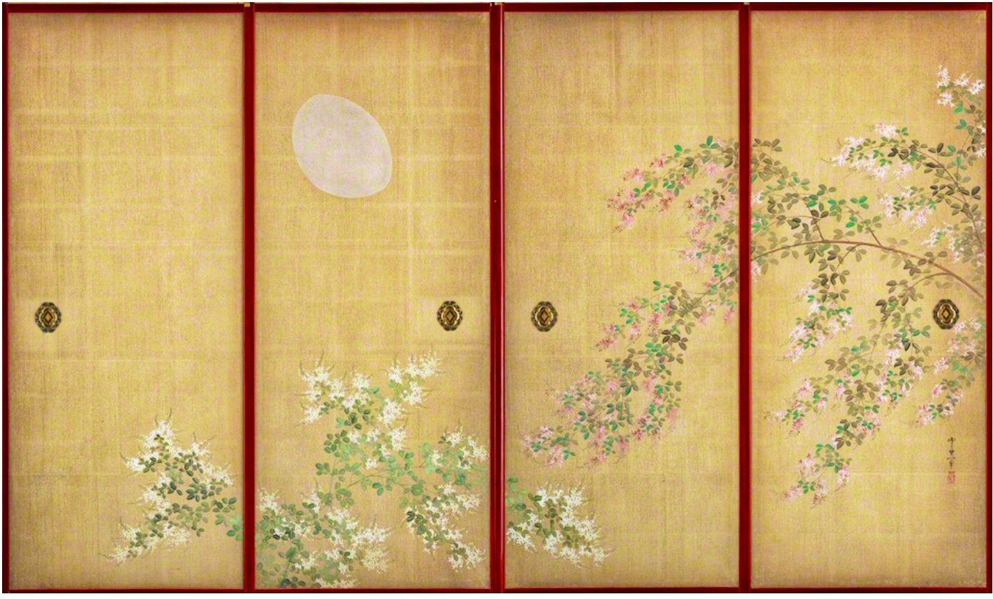 Sliding Door (fusuma) with Design of Moon with Bush Clovers. Late Edo Period  sc 1 st  Pinterest & Sliding Door (fusuma) with Design of Moon with Bush Clovers. Late ...