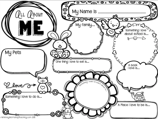 Back To School Writing All About Me Printable About Me Template All About Me Activities