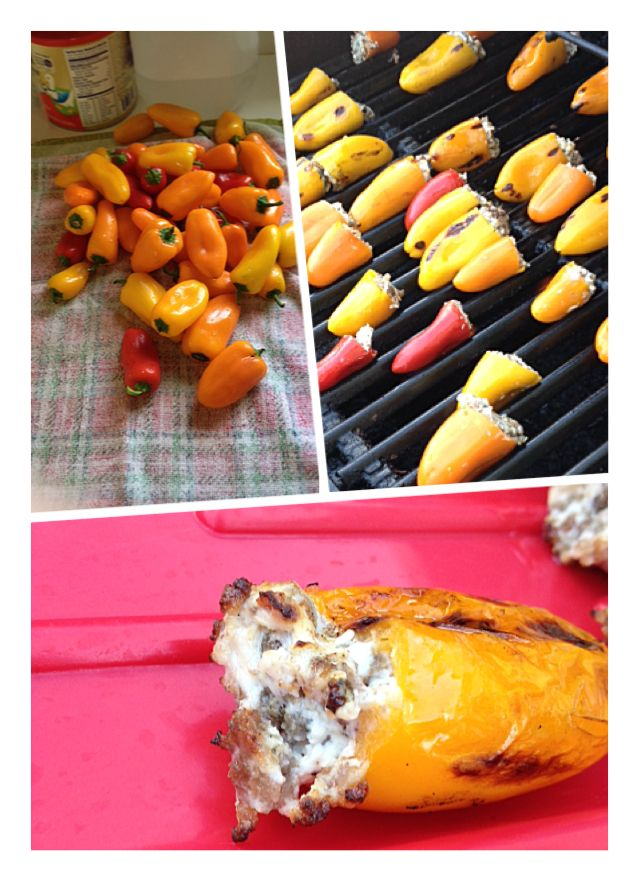 Peppers Stuffed With Sausage And Cream Cheese Grilled On The Grill 2 Packages Of Sweet Mini Pepper Party Food Appetizers Appetizer Snacks How To Cook Sausage