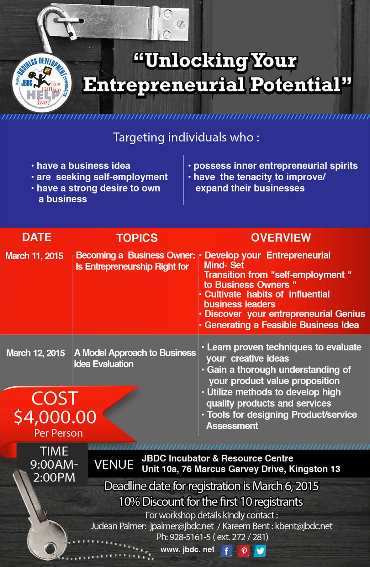 "JBDC Business Workshop: ""Unlocking your Entrepreneurial Potential""."
