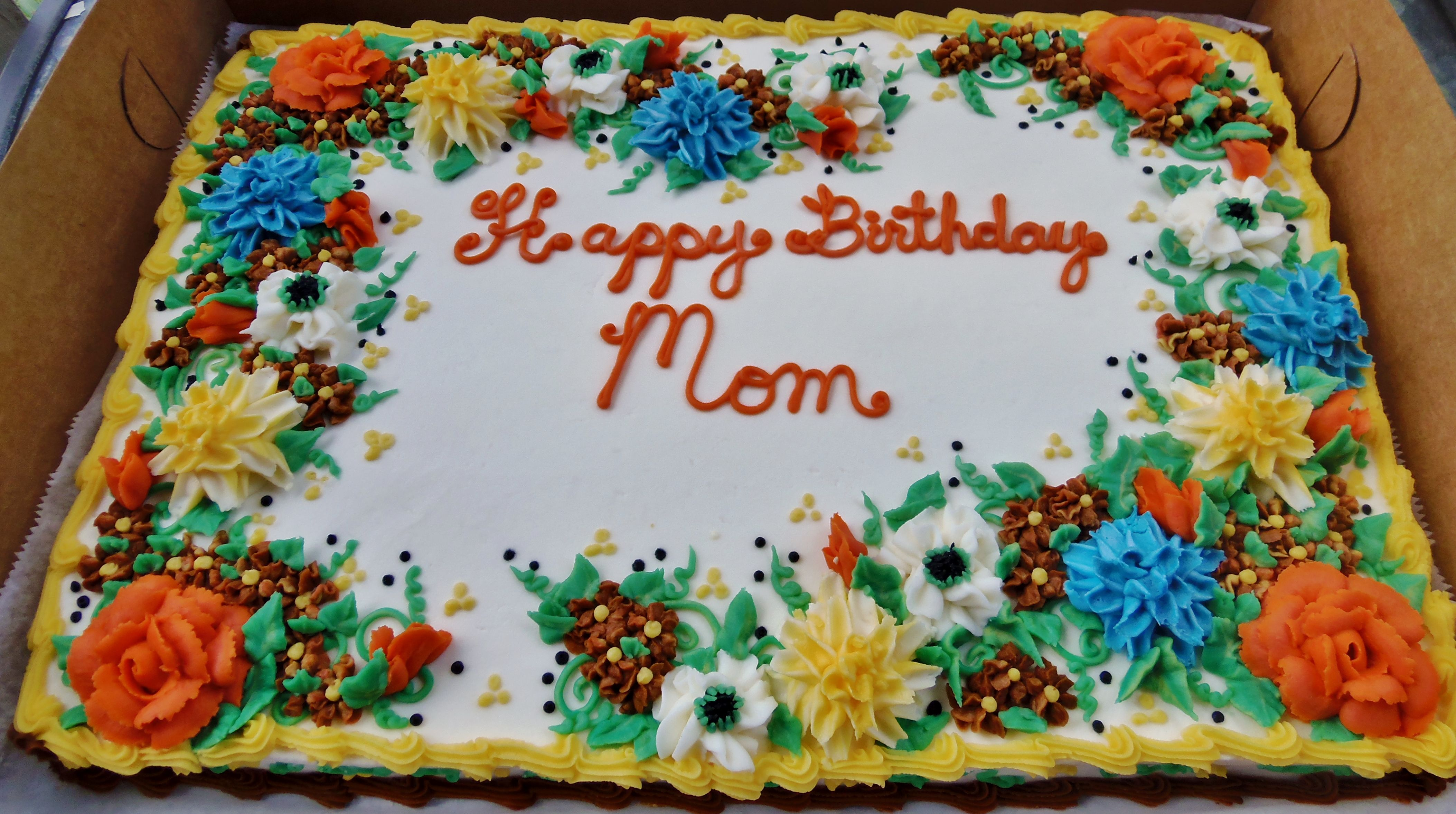 Sheet Cake Decorated With Flowers : Buttercream fall flowers on sheet cake for birthday ...