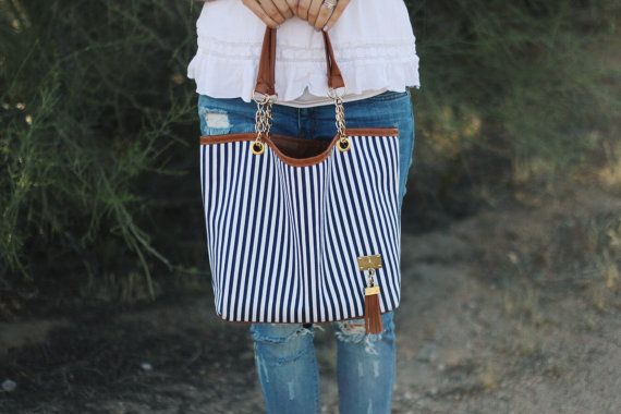 Striped tote bag by GrayFoxApparel on Etsy