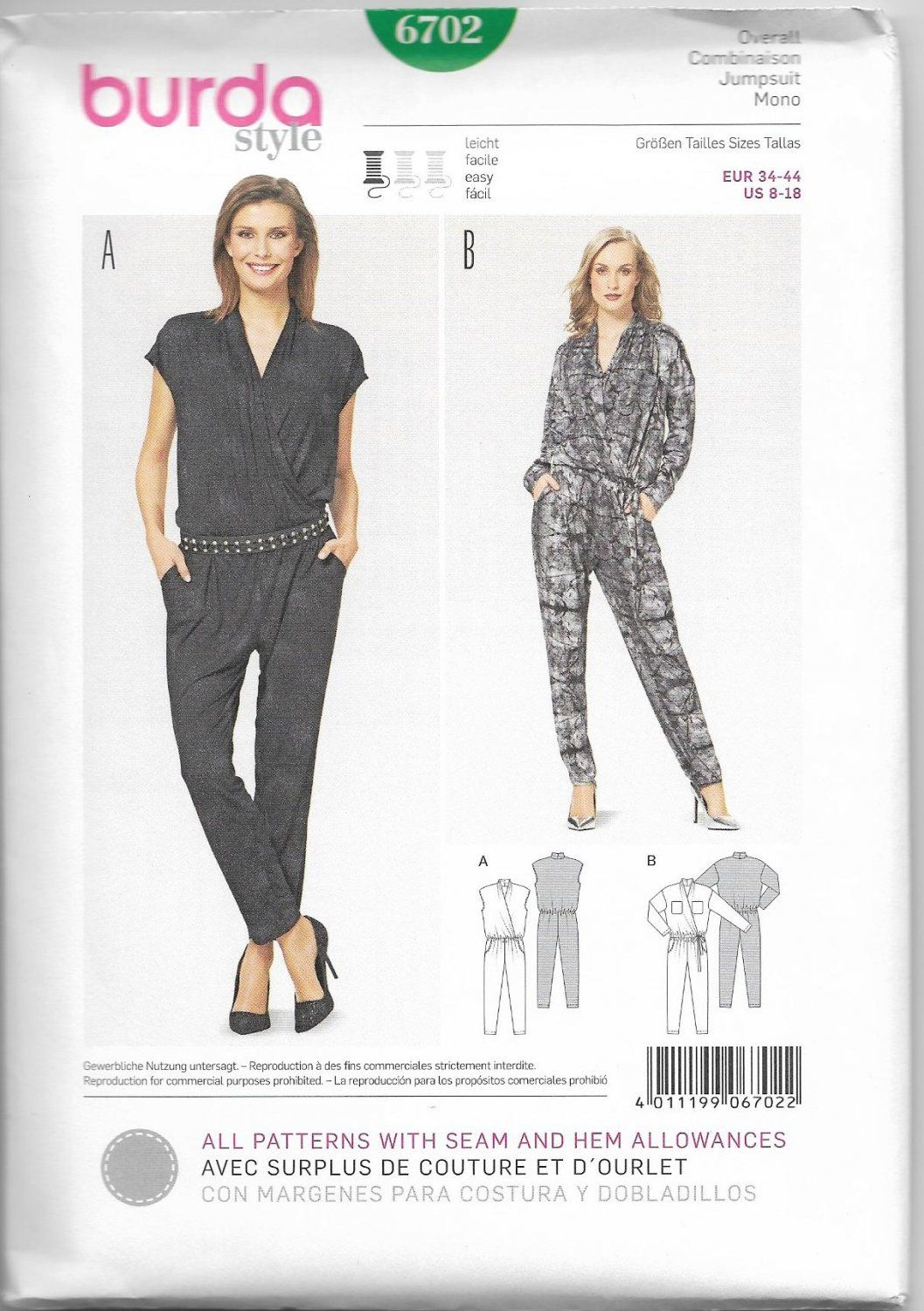 Burda+Style+6702+Miss+Jumpsuit+Sewing+Pattern+8-18+UNCUT | Sewing ...