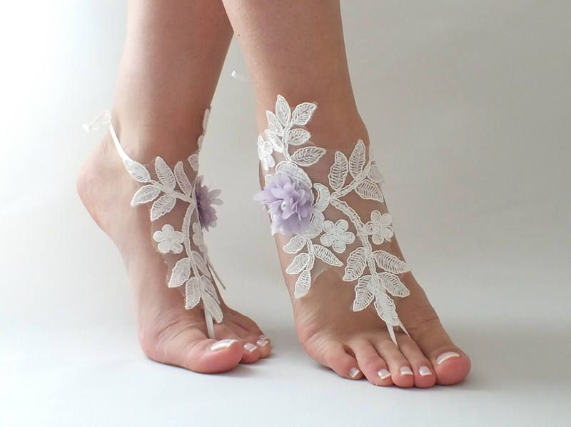 Beach Wedding Barefoot Sandals Nude Shoes Bridal Party Bridesmaid