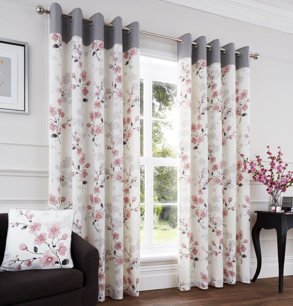 Paige Blush Ready Made Eyelet Curtains