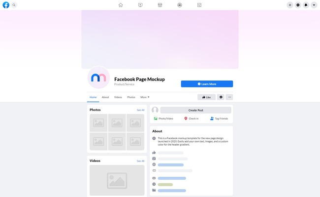 Time To Upgrade Your Facebook Page Layout Use This Mockup Of The New Facebook 2020 Layout For Previewing How Your D Social Media Mockup Facebook Mockup Mockup