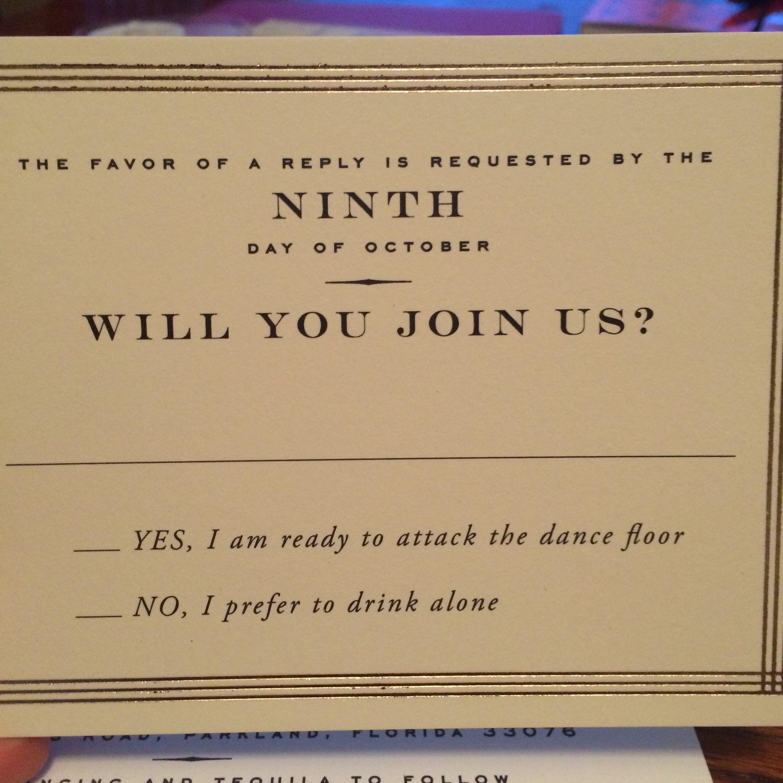 Fun Wedding Rsvp Card Wording: It's Funny Because It's True