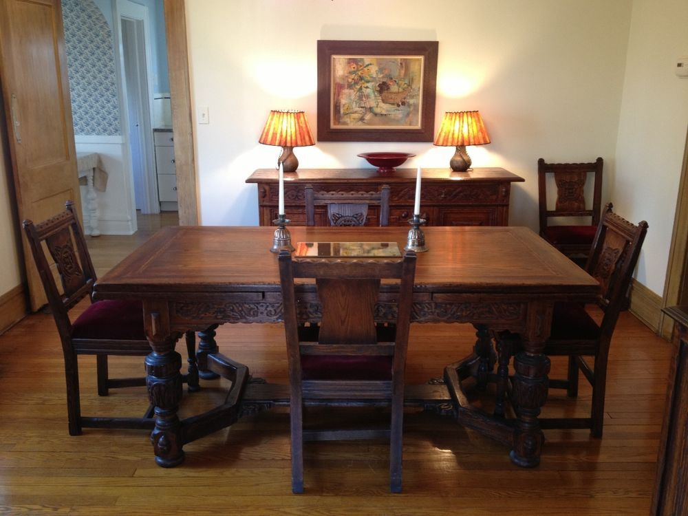 Vintage 1930s Jamestown Furniture Company Feudal Oak Dining Room Set