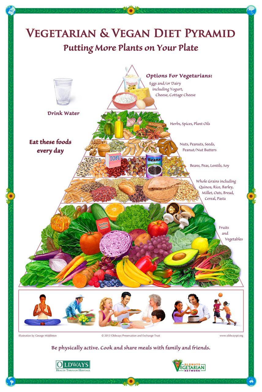 Oldways vegetarian vegan diet pyramid poster vegan
