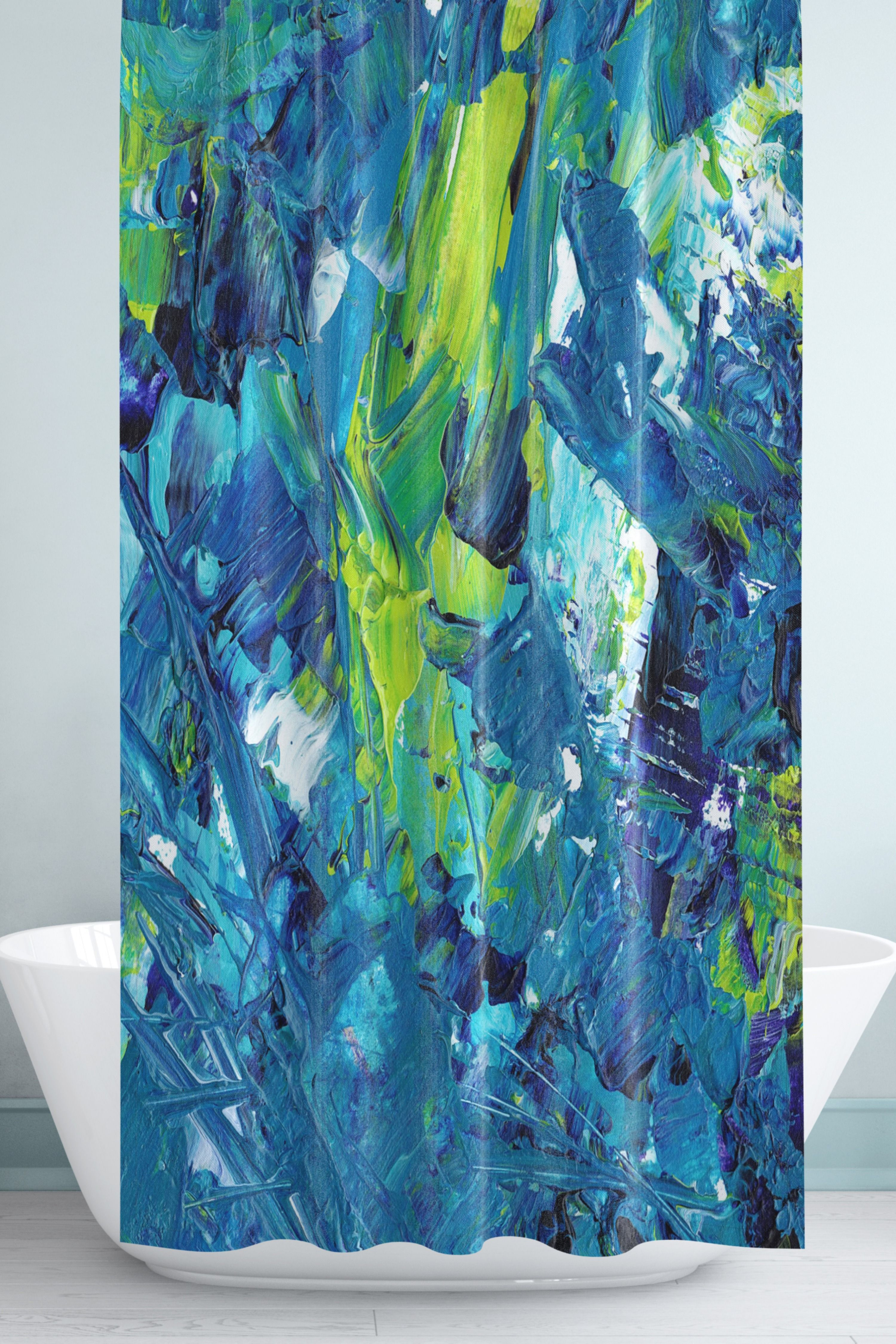 Abstract Art Shower Curtain Blue And Green And White Modern