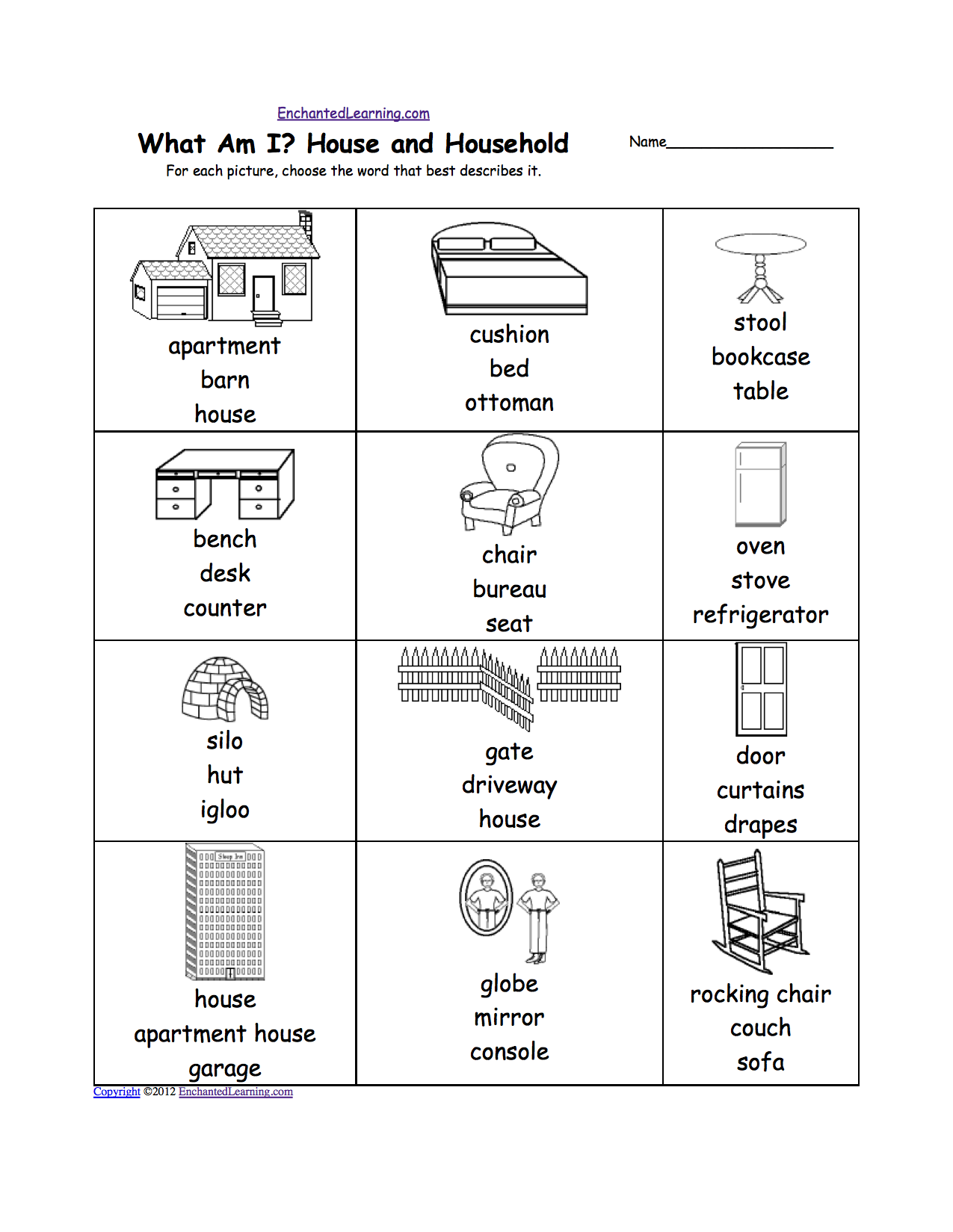 house worksheets what am i house and household for each