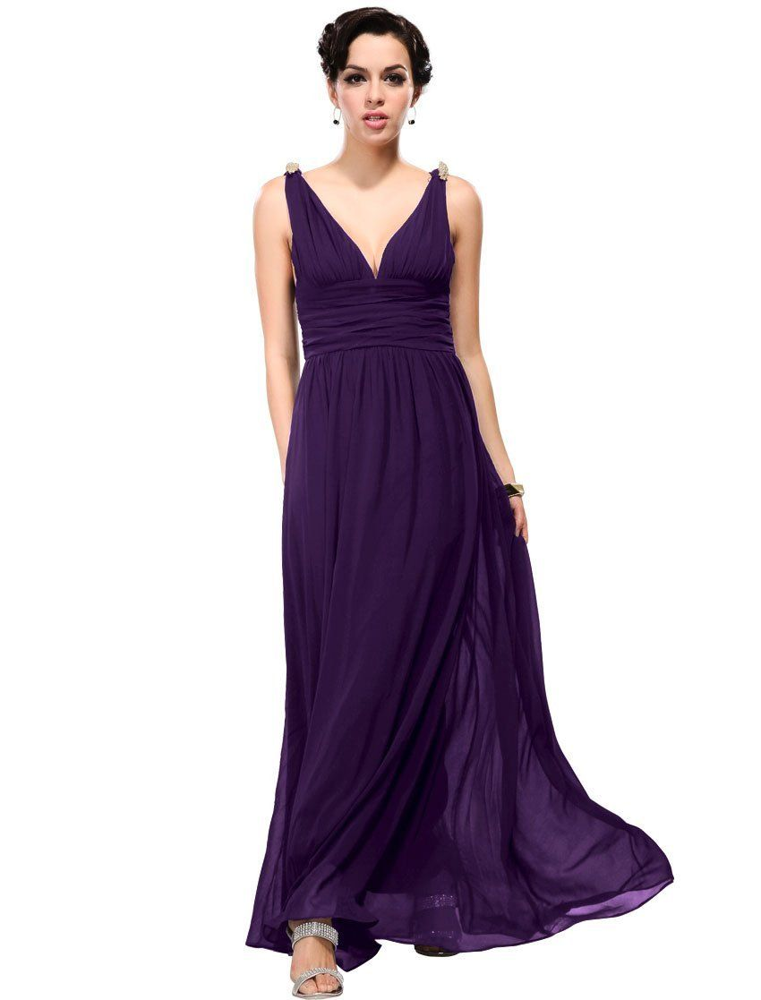 Ever pretty elegant vneck long chiffon crystal maxi evening dress