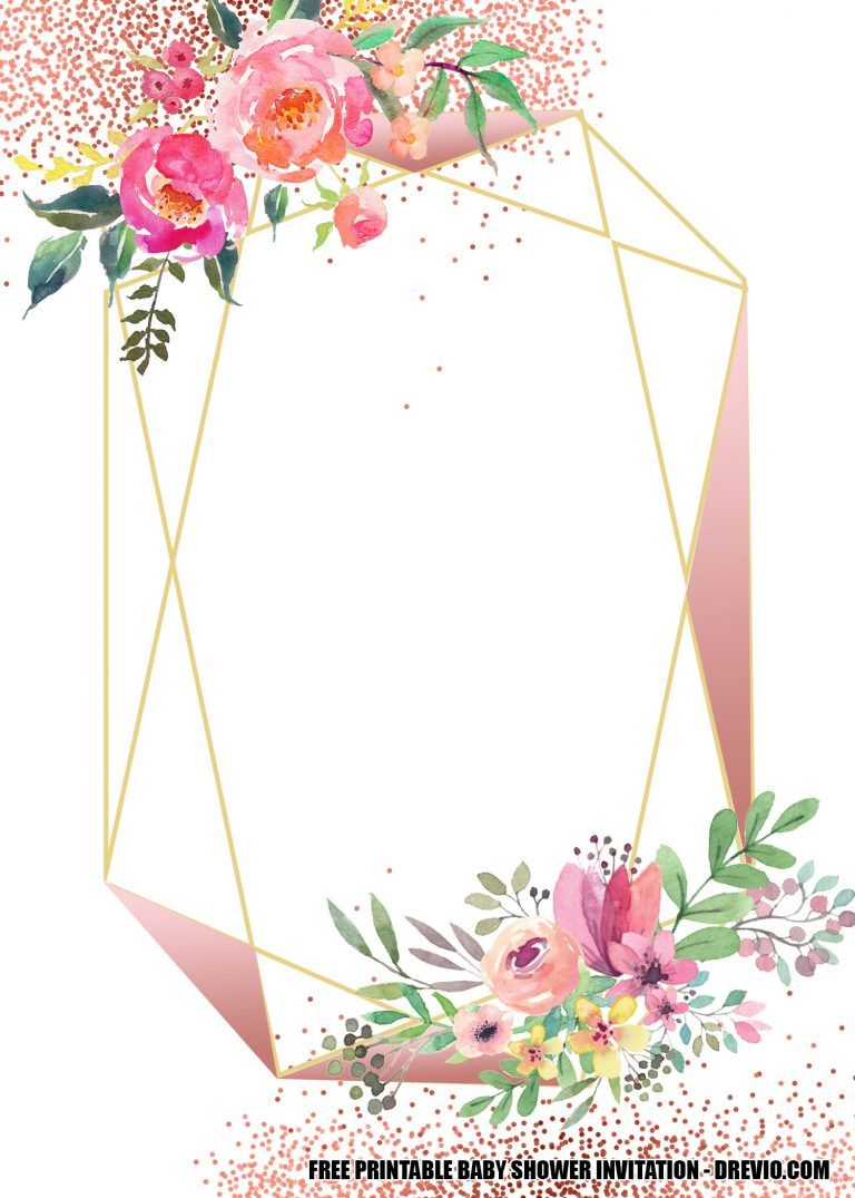 FREE Blush Floral Rose Gold Geometry Invitation Templates