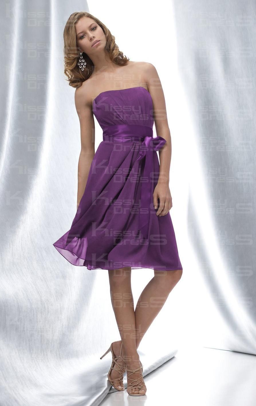 Cheap Simple/Elegant A-line Strapless Empire Knee Length Purple ...