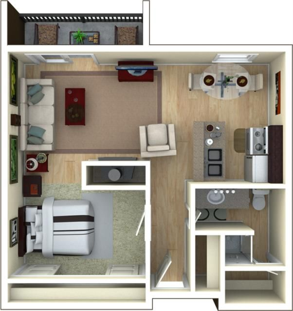 Unique studio apartment floor plans furniture layout on for Studio apartment furniture arrangement