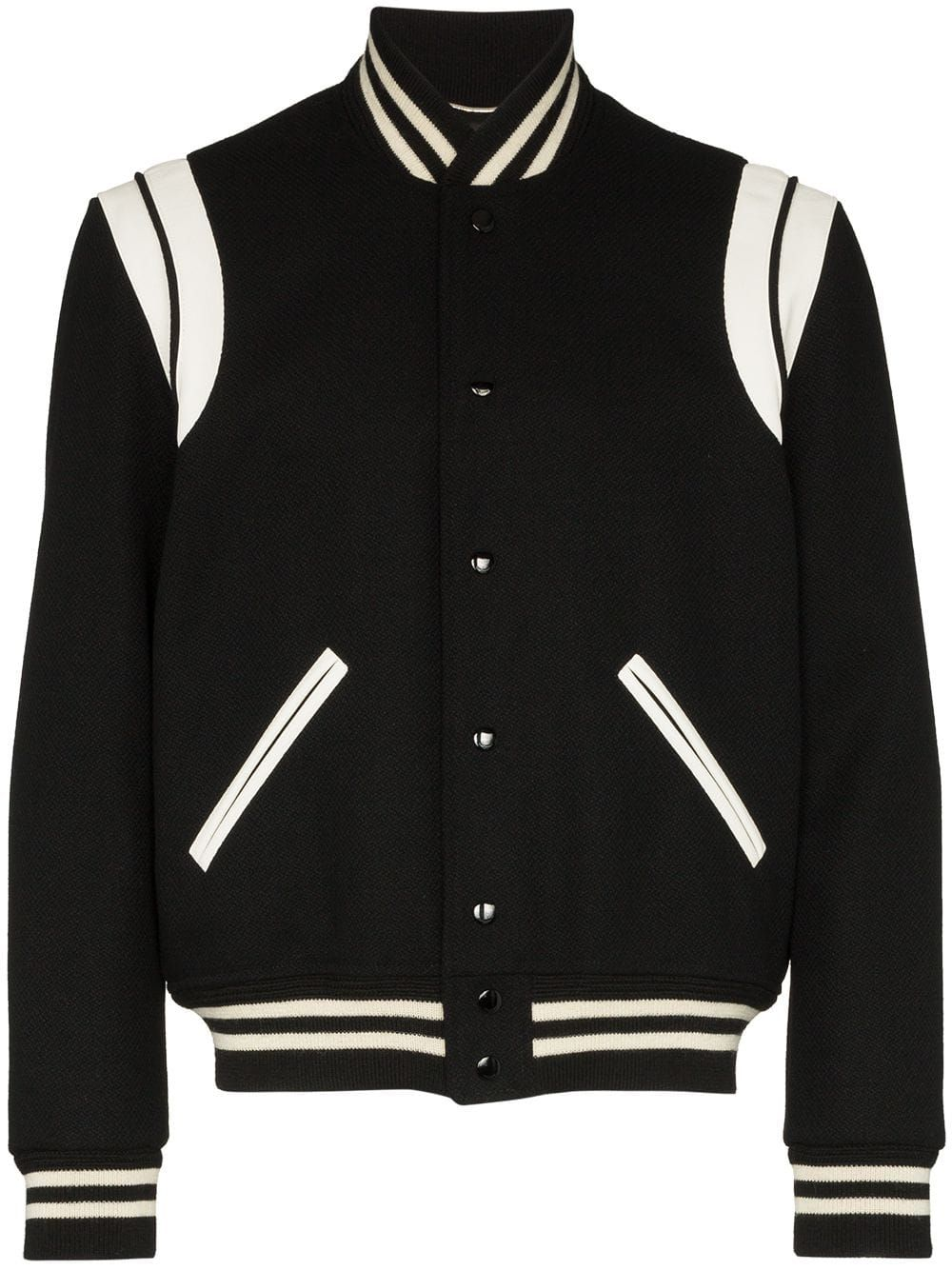 Saint Laurent Teddy Bomber Jacket Farfetch In 2021 Teddy Jacket Black Bomber Jacket Varsity Jacket [ 1334 x 1000 Pixel ]