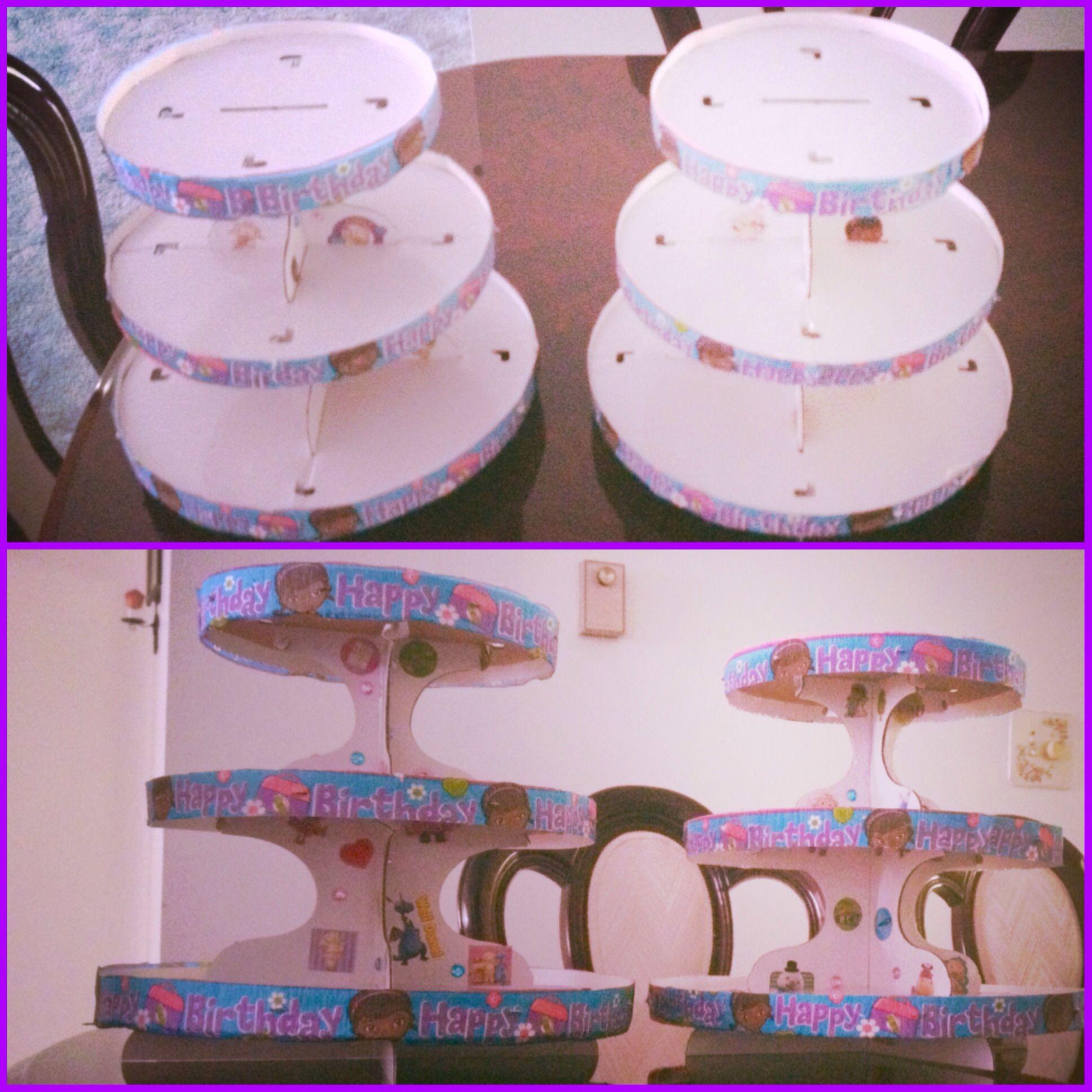 Diy doc mcstuffins cupcake stand partaaayyyyy pinterest doc diy doc mcstuffins cupcake stand solutioingenieria Gallery