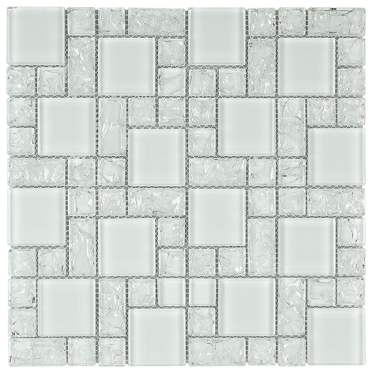 Crackled Glass Mosaic Tile French Pattern Ice | Crackle glass, Glass ...